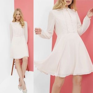 Ted Baker Quinni Frill Detail Dress Pink Small
